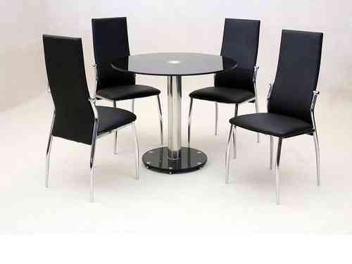 Small round glass dining table and 4 faux chairs in black set