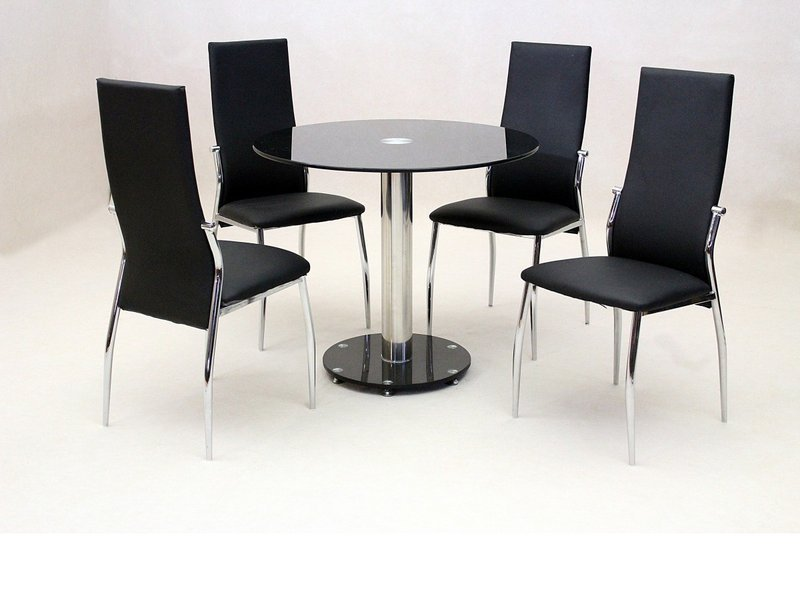 Small Round Glass Dining Table And 4 Faux Chairs In Black