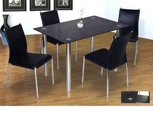Stylish black glass & chrome dining table and 4 chairs