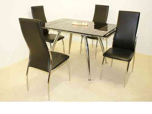 Small extending glass dining table and 4 chairs set