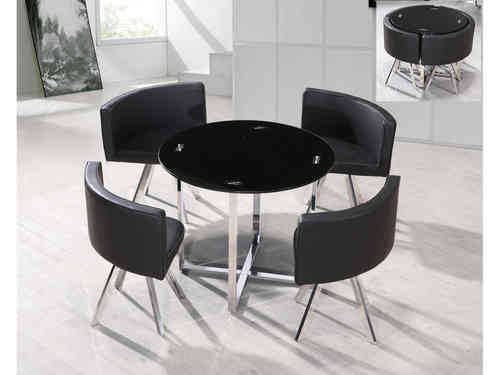 Round black glass & chrome dining table and 4 chairs