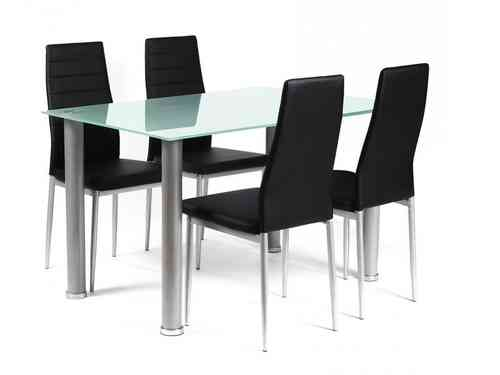 Frosted rectangular glass dining table and 4 black chairs set