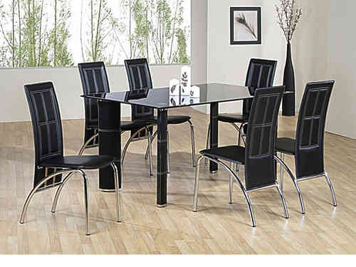 Glass dining table and 6 faux chairs in black