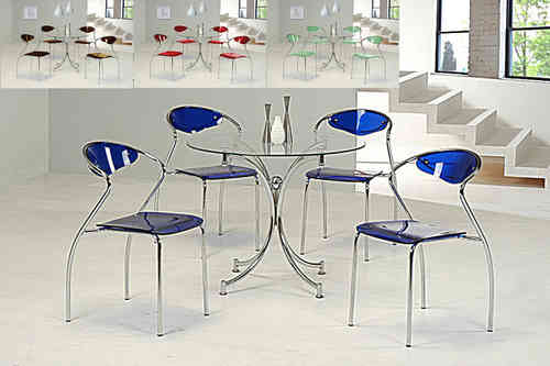 Round clear glass dining table and 4 blue chairs