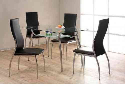 Glass / chrome dining table and 4 chairs