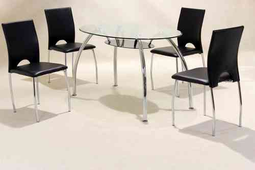Oval clear glass & chrome dining table and 4 chairs set