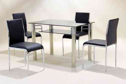 Black Square Glass Fining Table and 4 Faux Chairs