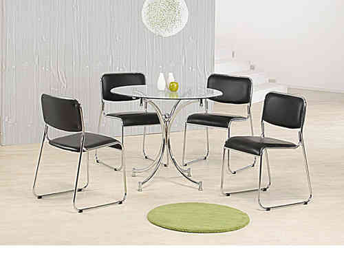 Round clear glass dining table and 4 chairs