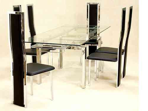 Large clear glass extending dining table and 6 chairs set