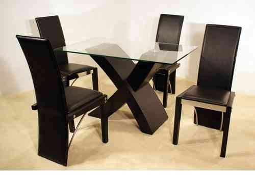 Ash black small clear glass dining table and 4 chairs set