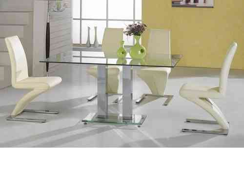 Large clear glass dining table and 4 chairs in cream set