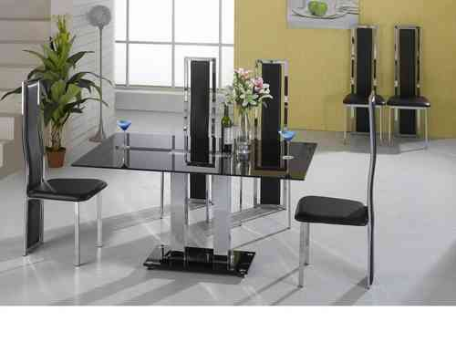 Large 150cm black glass dining table and 6 chairs set
