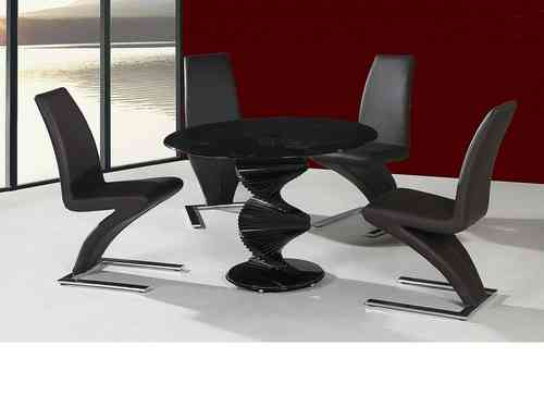 Round Twirl glass dining table and 4 chairs in black set