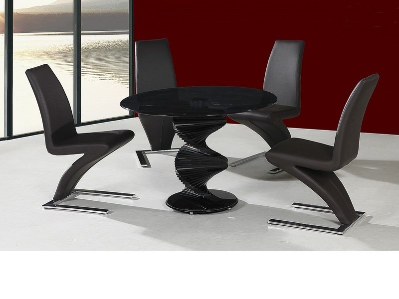 Attractive Round Twirl Glass Dining Table And 4 Chairs In Black Set