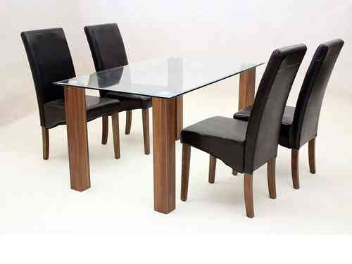 Large clear glass dining table and 4 faux black chairs set