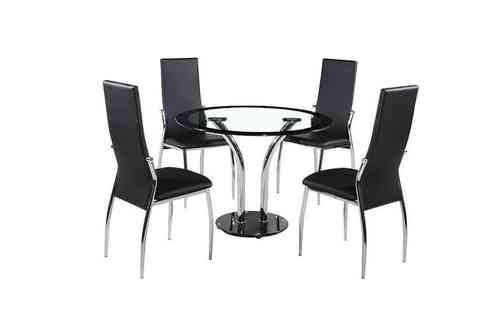 Round 100cm clear / black glass dining table and 4 chairs set