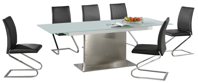 Large Extending Frosted Glass Dining Table And 6 Chairs Set