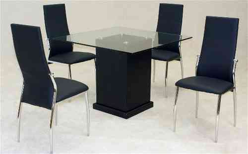 Medium square glass dining table and 4 faux chairs in black set