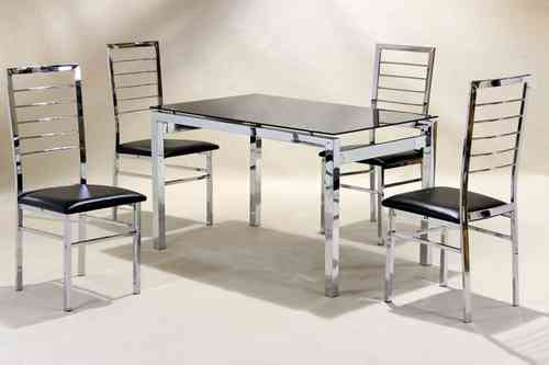 Medium chrome glass dining table and 4 faux chairs in black set