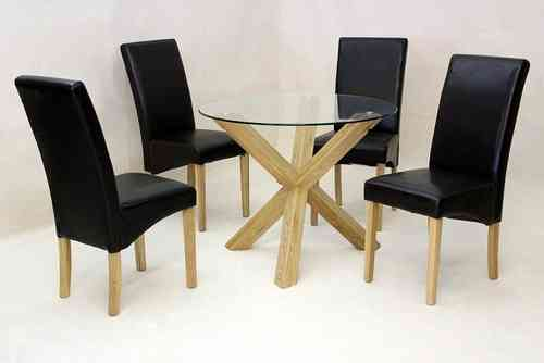 Round glass dining table oak base and 4 chairs