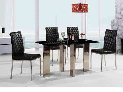 Medium glass dining table and 4 faux chairs in black