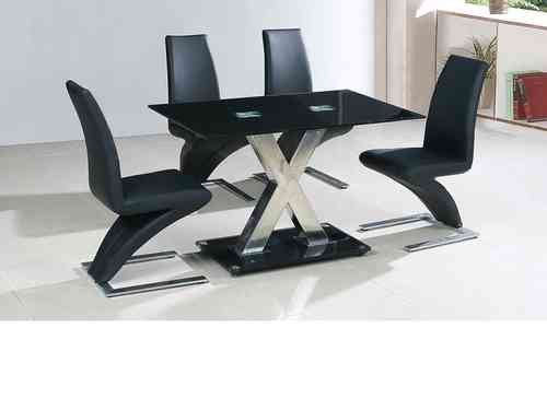 Medium 120cm black glass dining table and 4 chairs set