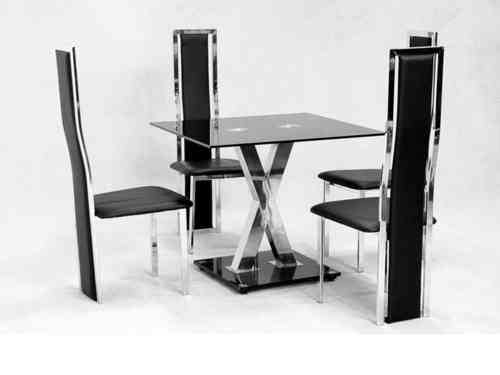 Square glass dining table X chrome and 4 faux chairs set