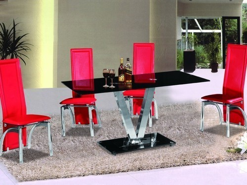 Black Glass Dining Table and 6 Chairs in red set