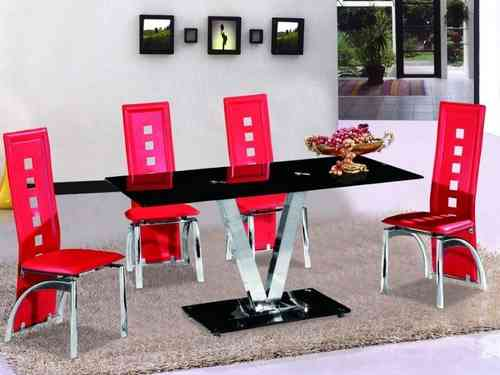 Black Glass Dining Table and 6 Chairs in Red