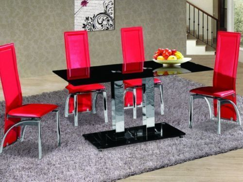 Black glass dining room table and 6 red chairs