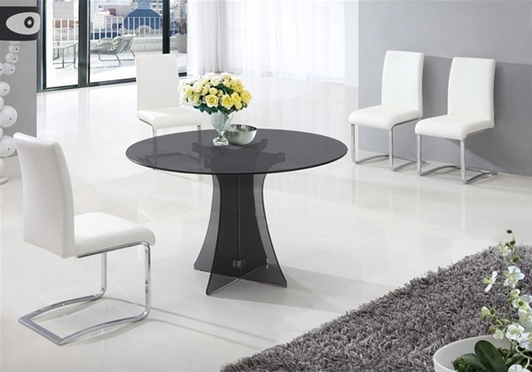 Dining Table In Smoked Round Glass And 6 White Chairs Set