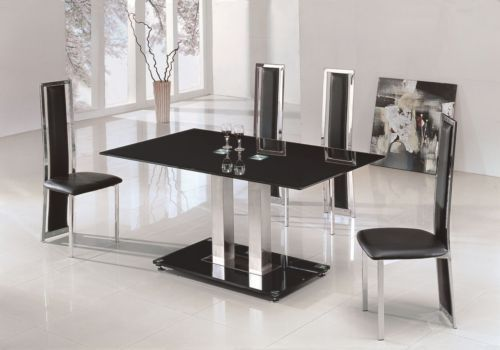 Black glass dining table and 4 black chairs
