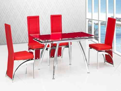 Red extending glass dining table & 4 Matching chairs