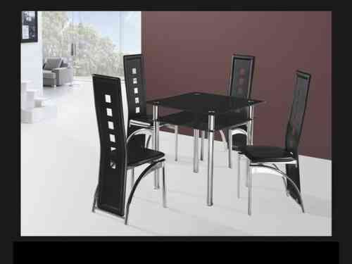 Small square black glass dining table and 4 chairs