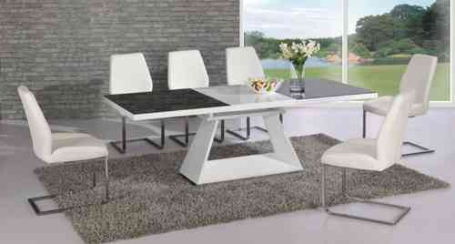 Extending black glass and white high gloss dining table