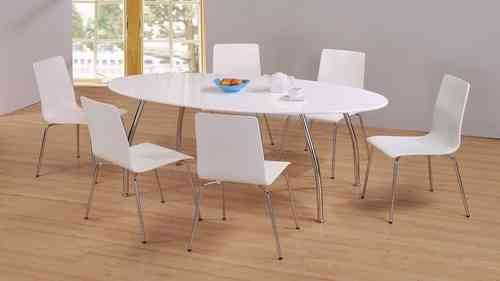 Modern white high gloss large dining table and 6 chairs set
