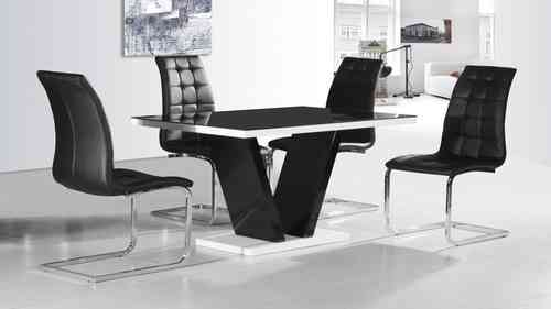 Black glass high gloss dining table and 4 chairs set