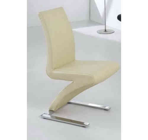 8 Dining Chairs Mix Leather Chrome in Cream