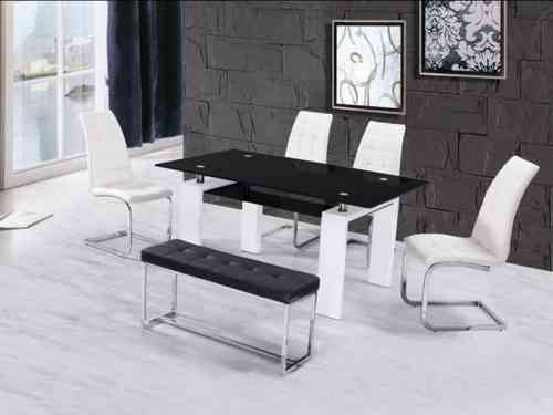 High gloss glass dining table with 4 chairs & bench