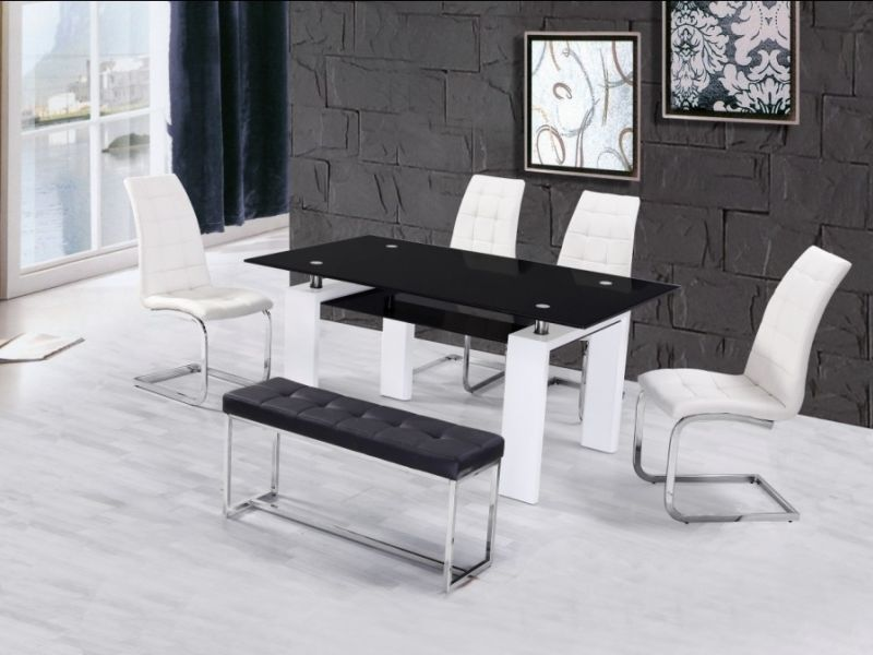 High Gloss Glass Dining Table With 4 Chairs U0026 Bench ...