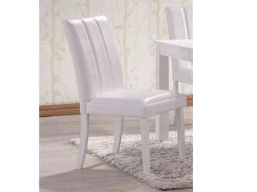 Trogon 6 White Dining Chairs, Rubber wood, Faux Leather tops and Backs