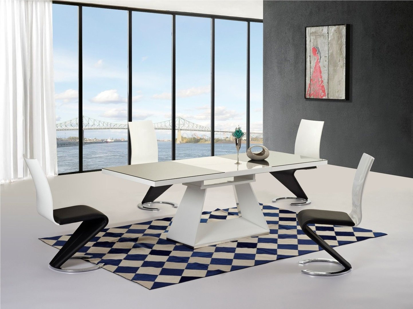 Black white high gloss glass extending dining table 6 for White dining table and 6 chairs