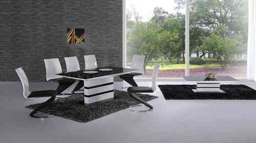 White high gloss black glass dining table & 8 chairs set