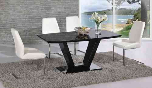 Black glass high gloss dining table with 4 chairs