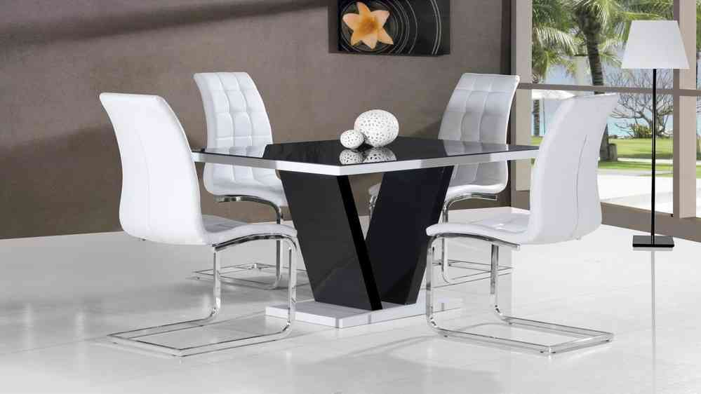 0821ab2631c Black glass high gloss dining table and 4 white chairs-Homegenies