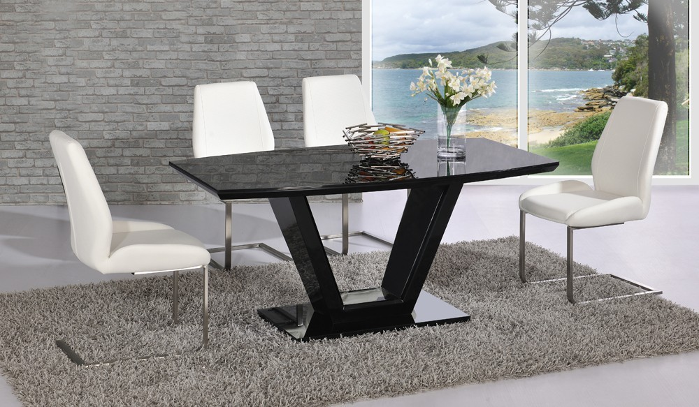 5fc02be542 Black glass high gloss dining table and 6 chair set. 2 Black ...