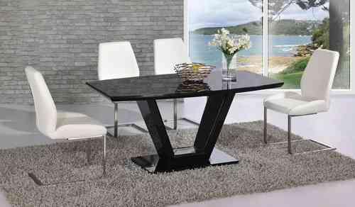 Black glass high gloss dining table and 6 chair set