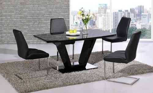Black glass high gloss dining table set and 6 chairs