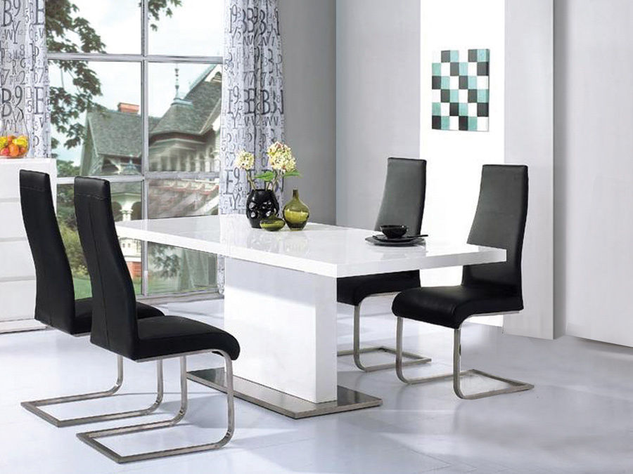 High Gloss White Dining Table With 4 Chairs Set Homegenies
