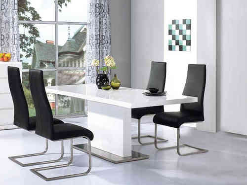 High Gloss White Dining Table with 4 Chairs set